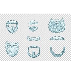 Set of beard and mustache Santa Claus vector image