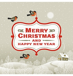 Christmas signboard over winter landscape vector