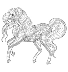 Hand drawn zentangle horse for adult coloring page vector