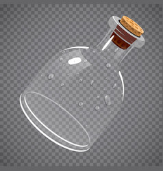 Empty glass bottle elixir potion or chemistry vector