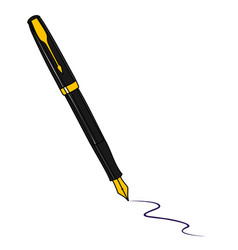 Black fountain pen isolated on white background vector