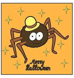 Cartoon cute spider in hat merry halloween vector