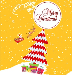 Merry christmas card with santa claus gift and vector