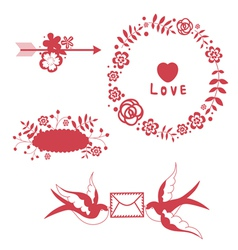 Romantic floral elements and swallows vector