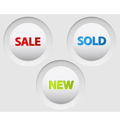 Round 3d white buttons for sale vector
