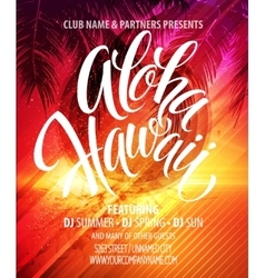 Aloha hawaii summer beach party poster vector