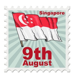 post stamp of national day of Singapore vector image