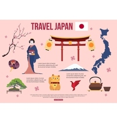 Japan travel background with place for text set vector
