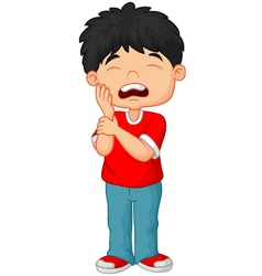 Cartoon little boy toothache vector