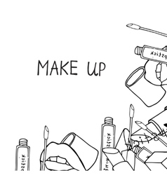 Makeup products cosmetics vector