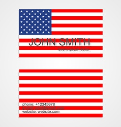 American flag business card template vector