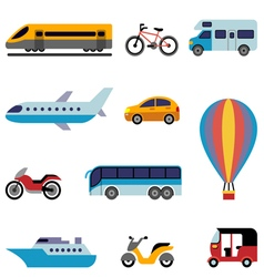 Colorfull flat transport icons vector