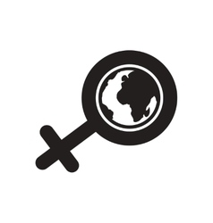 Flat icon in black and white female sign vector