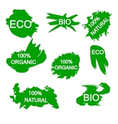 Organic bio eco natural stickers vector