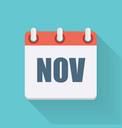 November dates flat icon with long shadow vector