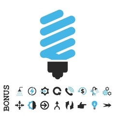 Fluorescent bulb flat icon with bonus vector