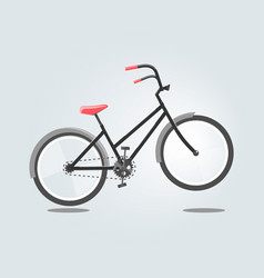 Black bike with red seat isolated on grey vector
