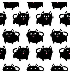 Black cat big tail whisker tongue eyes cute vector