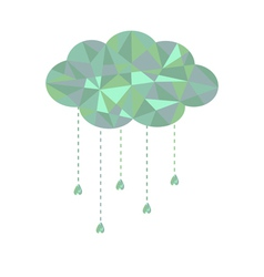 Blue and green cloud with hanging drops Polygonal vector image vector image