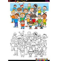 boys characters group coloring book vector image vector image