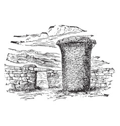 Burial tower raised structure built vintage vector