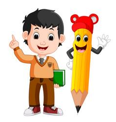 cartoon boy with a big pencil vector image vector image