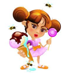 cartoon girl with a melting ice-cream eps 10 vector image