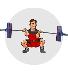 cartoon weightlifter with an effort squeezing vector image vector image
