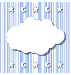 cartoon white cloud with shadow on striped vector image
