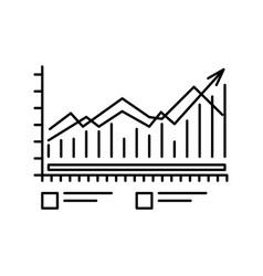 Chart icon with bars and lines outline symbol for vector