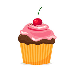 chocolate cupcake with cream and cherry vector image vector image