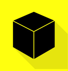 cube sign black icon with flat style vector image