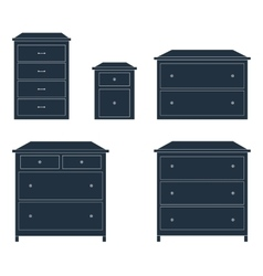 Dressers for clothes dark on white background vector