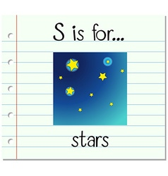 Flashcard letter S is for stars vector image vector image
