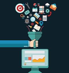 Flat design concepts for creative process big data vector