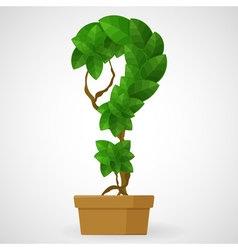 Green foliage houseplant alphabet Question mark vector image