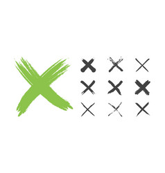 hand drawn red grunge check mark set vector image