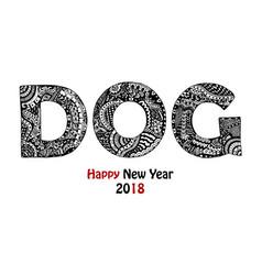 Handdrawn zentangle inspired dog text vector