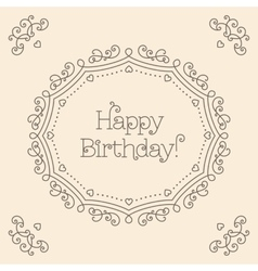Happy birthday card mono line art style monogram vector