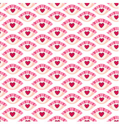 Heart eyes seamless pattern lovely doodle texture vector