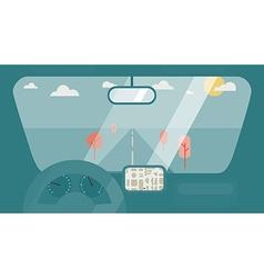 Inside car interior vector image