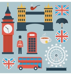 London flat icon set vector image