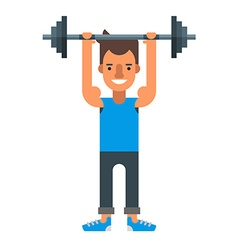 Man lifting heavy bar-bell flat isolated on white vector