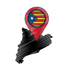 Map of independent catalonia nationalist pin flag vector