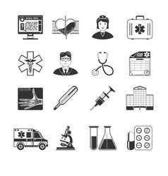 Medical And Healthcare Black Icons vector image