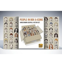 People in box and icons faces set vector image