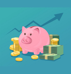 Piggy bank and stacks of money vector