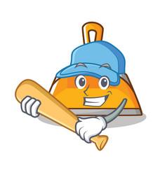 Playing baseball dustpan character cartoon style vector