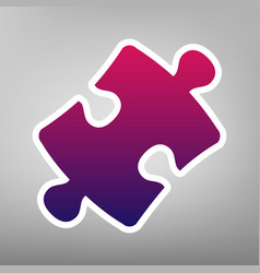 Puzzle piece sign purple gradient icon on vector