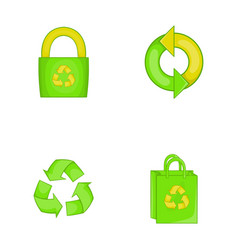 Recycle material icon set cartoon style vector